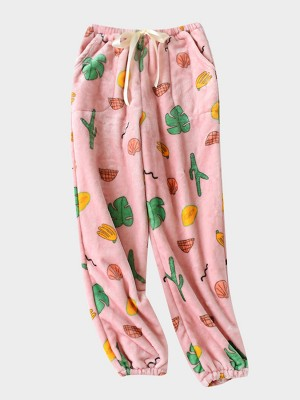 Precious Moments Pink Pajama Fruit Pattern Pants Full Length