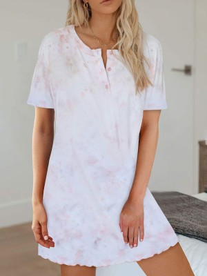 Graceful Pink Tie-Dye Short Sleeves Nightgown Button For Dreamgirl