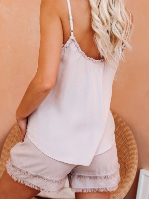 Sliky Pink Slender Strap Sleepwear Set V Neck Modern Fit All Over