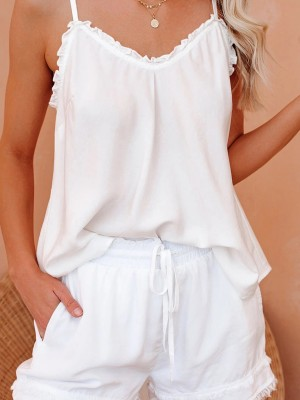 Tantalizing White Adjustable Shoulder Straps Pajamas Set Classic Fit