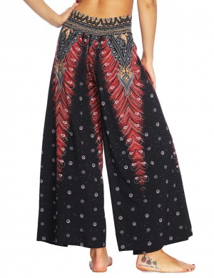 Scintillating Dot Printing Wide Legs Slit Pants Preventing Sweat