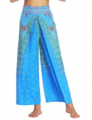 Chic High Slit Wide Legs Pants Digital Printing Honeymoon