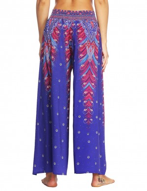 Svelte Style African Painted High Slit Pants High Waist Sexy Fashion