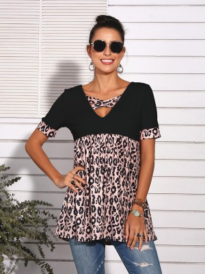 Cool Black Leopard Splice Top V-Neck Short Sleeve Casual Wear