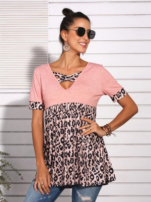 Lusty Pink Pleated Leopard Patchwork Top V-Neck Svelte Style