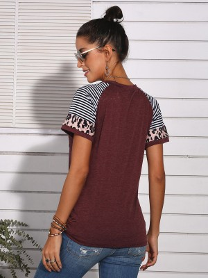 Glam Wine Red Splicing Shirt Short Sleeves Knot Hem For Walking