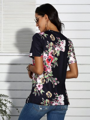 Popularity Black Flower Printed T-Shirt Round Collar