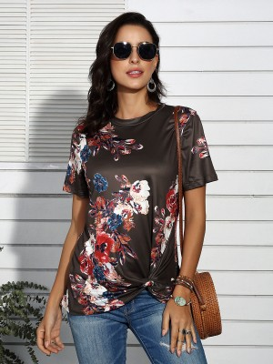 Effortless Brown Crew Neck Knot T-Shirt Floral Pattern Loose
