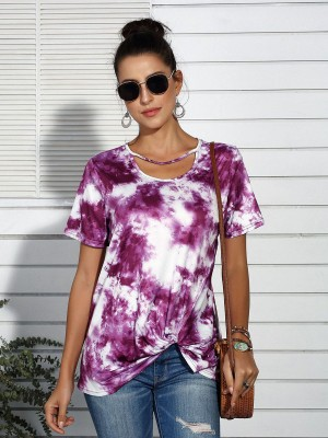 Lovely Purple Dye Print Short Sleeves Shirt Twist Stretch