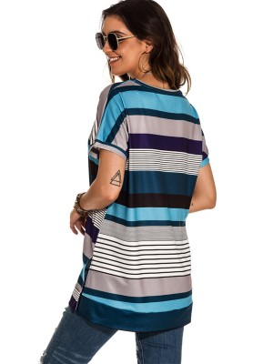 Lovely Blue T-Shirt Round Collar Short Sleeve Leisure
