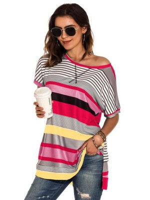 Homely Red Side Slit Stripe Pattern T-Shirt Lady Clothing