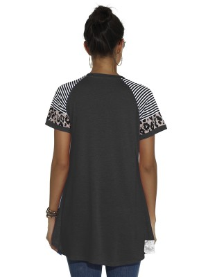 Dainty Dark Gray Curved Hem T-Shirt Patchwork Lace Woman