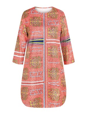 Appealing Ethnic Paint Shirt Round Collar 3/4 Sleeve Loose Fit