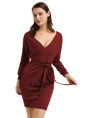 Curvy Wine Red Long Sleeve Open Back Knit Sweater Dress Outfit