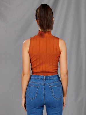 Homely Brown High Neck Sleeveless Cropped Sweater Delightful Garment