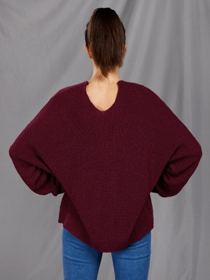 Supper Fashion Wine Red V Collar Sweater Solid Color Fashion Ideas