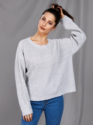 Eye-Catching Silver Full Sleeve Pearl Crew Neck Sweater Street Style