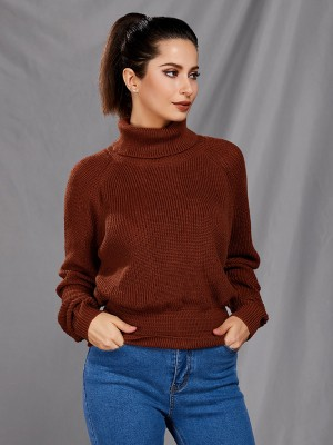 Nautically High Neck Solid Color Sweater Cheap Wholesale