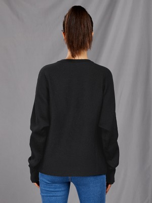 Geometrical Black Round Collar Long Sleeve Sweater Online Fashion