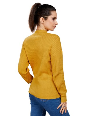 Cheeky Yellow Solid Color Sweater Full Sleeve Women's Essentials