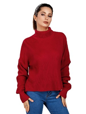 Dreaming Red Sweater High Collar Solid Color Wholesale Online