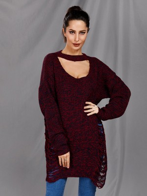 Flirtatious Dull Red Hollow Out Side Slit Sweater V Neck For Beauty