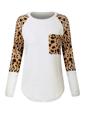 Remarkable White Crew Neck Sweater Pocket Patchwork Lady Fashion