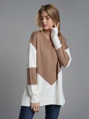 Absorbing Light Tan Stitching Sweater Crew Neck Full Sleeve Weekend