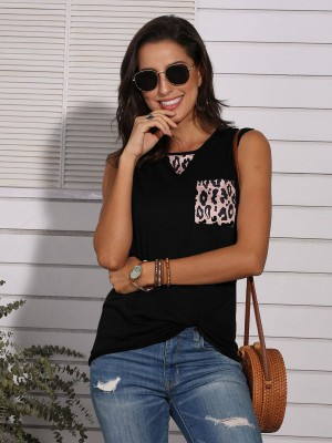 Sultry Black Sleeveless Leopard Splicing Tank Top Fashion