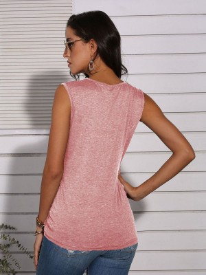 National Style Pink Leopard Patchwork Vest Top With Pocket