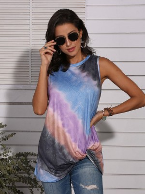 Comfy Blue Tie-Dyed Round Neck Tank Non-Sleeve Women's Fashion