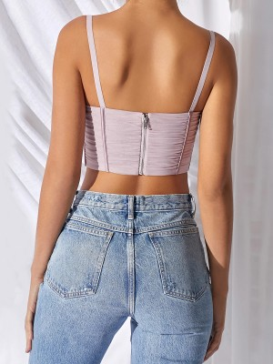 Classical Pink Lace-Up Crop Top Spaghetti Strap Women's Tops