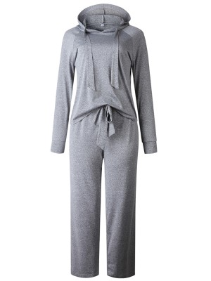 Desirable Gray Drawstring Top And Wide Leg Pants For Lounging