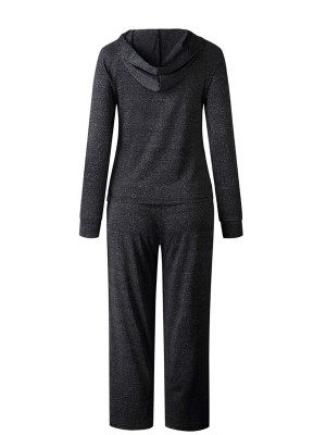 Cool Deep Gray Hooded Neck Top Suit Full-Length Comfort Fit