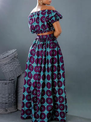 Delicate Off Shoulder Two-Piece African Style Elegance