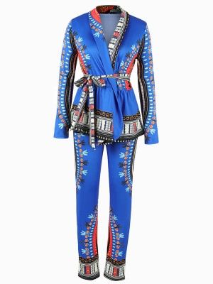 Interesting Blue Ethnic Printed Two-Piece Tie Waist Street Style