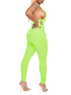 Fashionable Green Open Side Shirt Full Length Pants Stretch