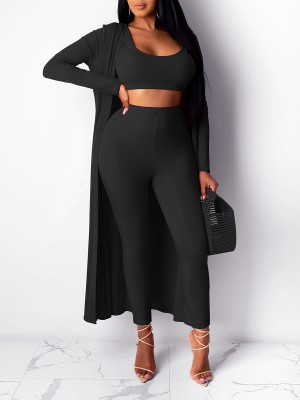 Staple Black 3-Piece Sleeveless Top Cardigan Suit For Strolling