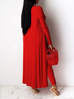 Tantalizing Red Solid Color Top Cardigan Three-Piece Feminine Charm