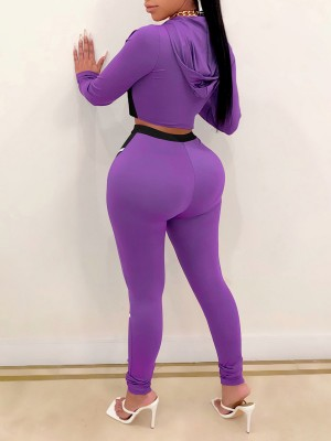 Purple High Waist Hoodie 2 Piece Outfits With Zip For Lounging