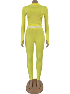 Breathable Yellow Solid Color Women Suit Letter Paint Comfort Women
