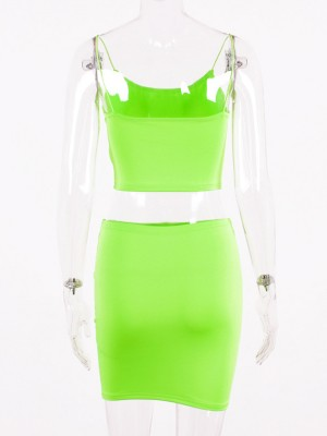 Green Square Neck Tank Top High Rise Skirt Natural Fit