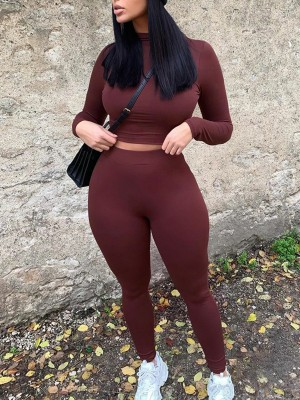 Wine Red Solid Color Women Suit High Waist Stretchy