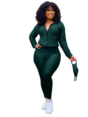 Blackish Green Sweat Suit Full Length Side Pockets Charming Fashion