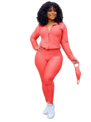 Watermelon Red Side Pockets Big Size Zipper Women Suit Feminine Curve