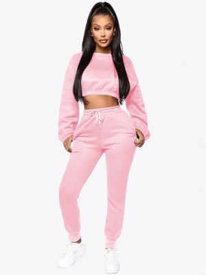 Pink Sweat Suit Solid Color Side Pockets For Walking