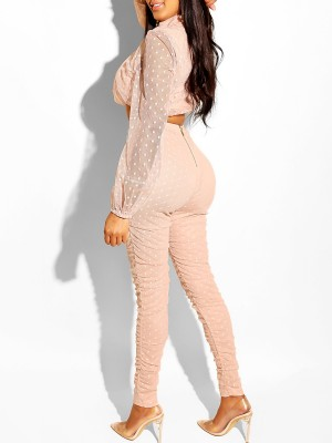 Brilliant Light Pink Turtleneck Top Suit Mesh Patchwork Charming