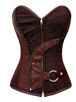 Fashion Burgundy Printed Overbust Corset