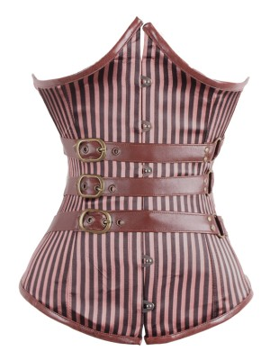 Brown Slimming Underbust Corset Striped Hook Eyes Waist Trainer Corset Girdle