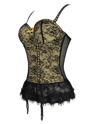 Women's Gold Floral Lace Hemline Chemise Bustier High Grade